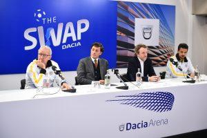 Da sinistra: il mister dell'Udinese Gigi Delneri; Stefano Campoccia, Vice Presidente Udinese; Francesco Fontana Giusti, Direttore Immagine & Comunicazione di Renault Italia; il difensore Felipe Dal Bello